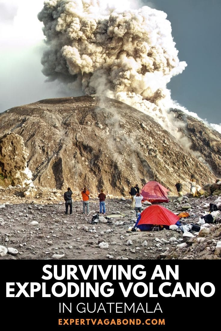 Hiking Santiaguito: Surviving An Exploding Volcano In Guatemala! Definitely one of my craziest travel experiences! Find out more at ExpertVagabond.com #Hike #Trek #Backpack #adventure #Travel