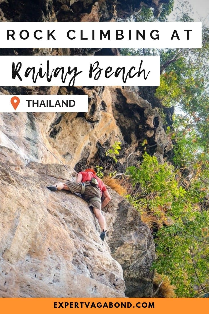 Check out my guide to Rock Climbing Limestone Cliffs At Railay Beach! More at ExpertVagabond.com