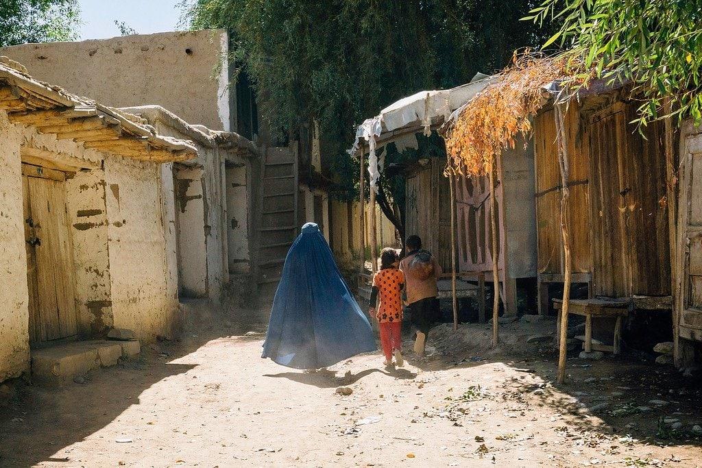Woman in Blue Burka