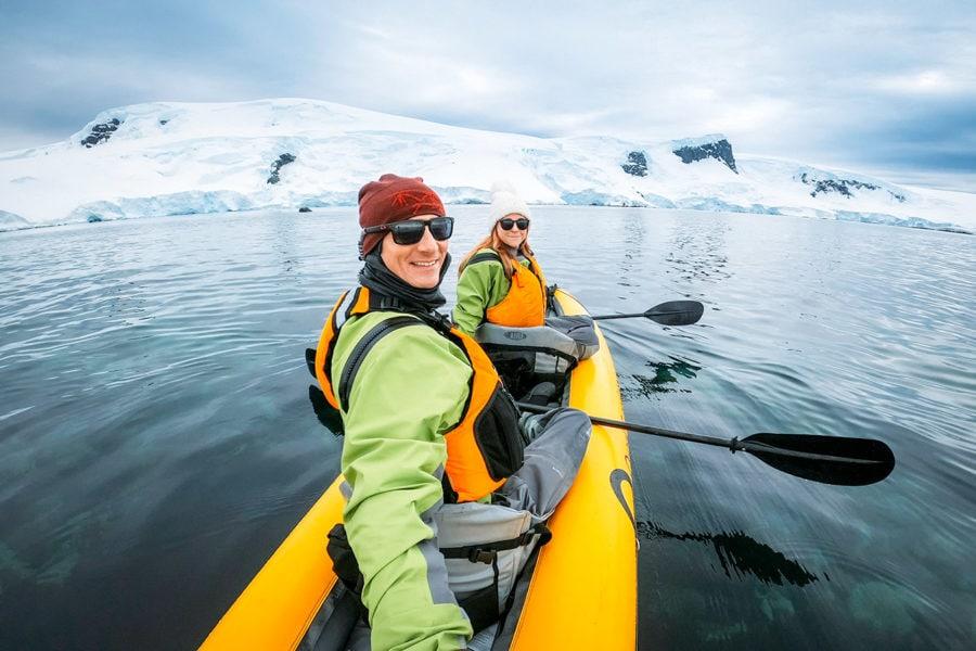 Couple Kayaling in Antarctica
