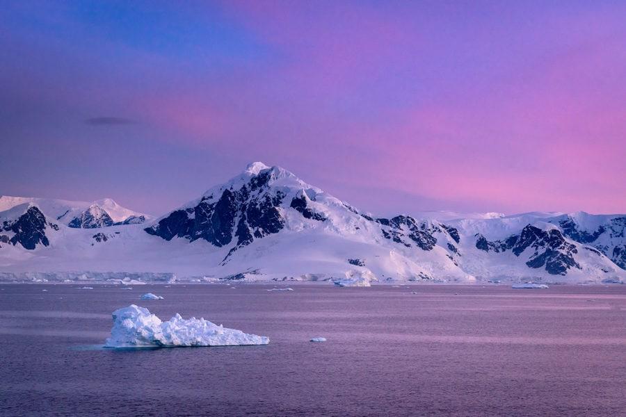 Colorful Sunset in Antarctica