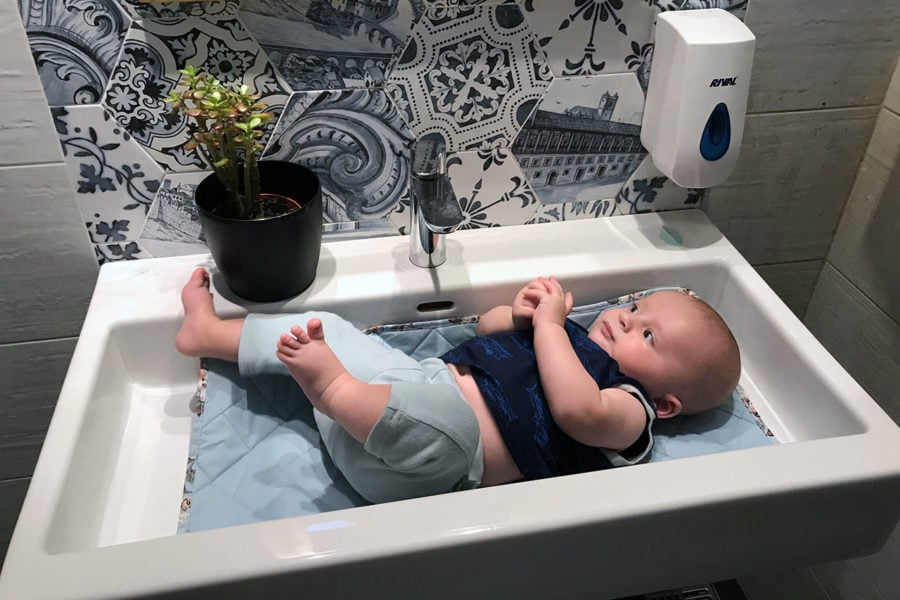 Changing Baby in Sink
