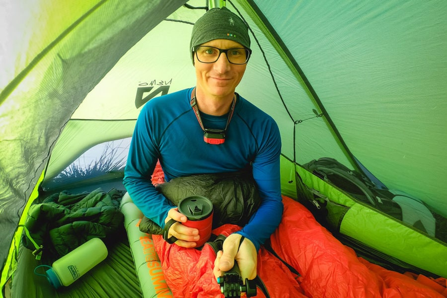 Inside tent with Sleeping Bag