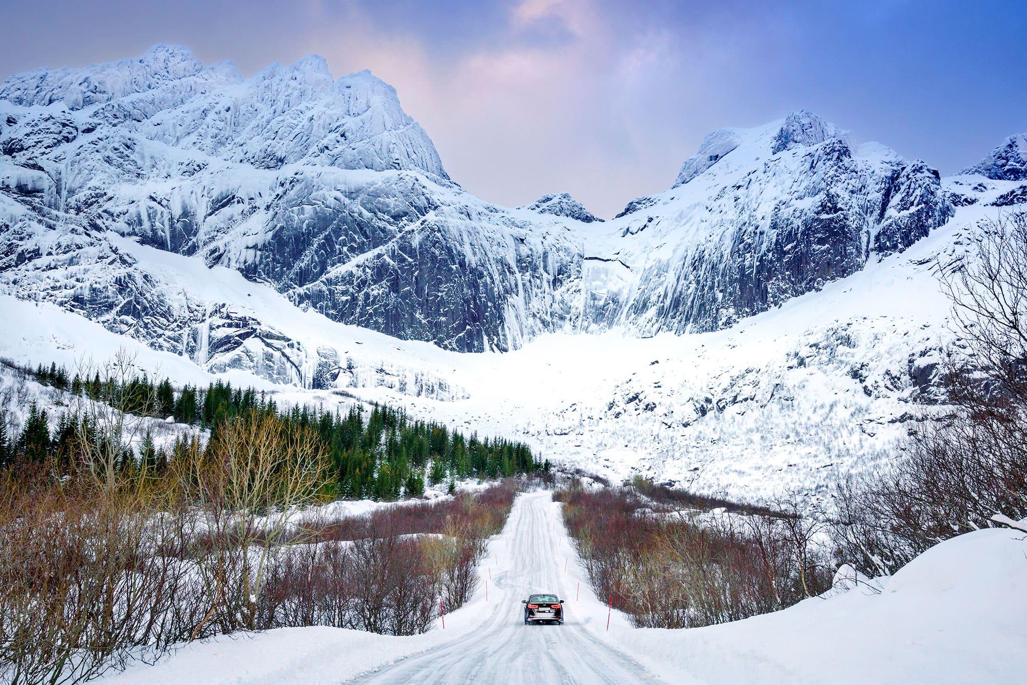 Conducir en Noruega en invierno