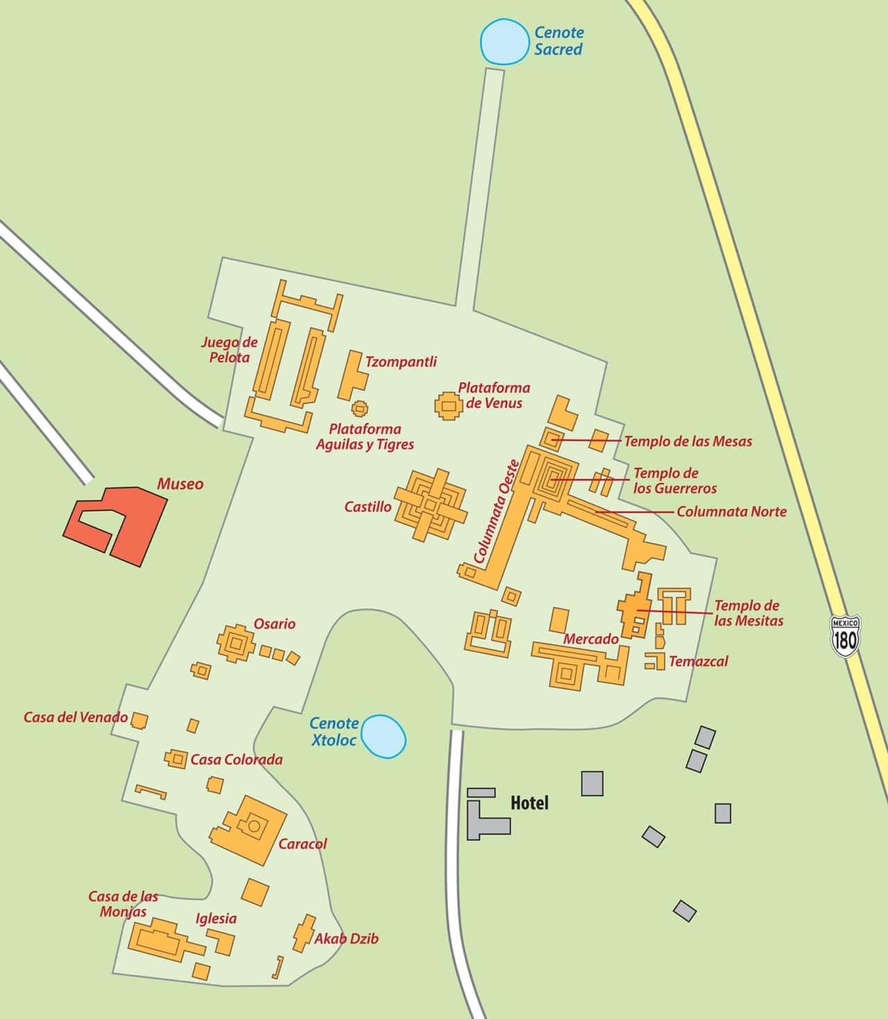 chichen-itza-map ▷ Las ruinas de Chichén Itzá: la maravilla del mundo en México