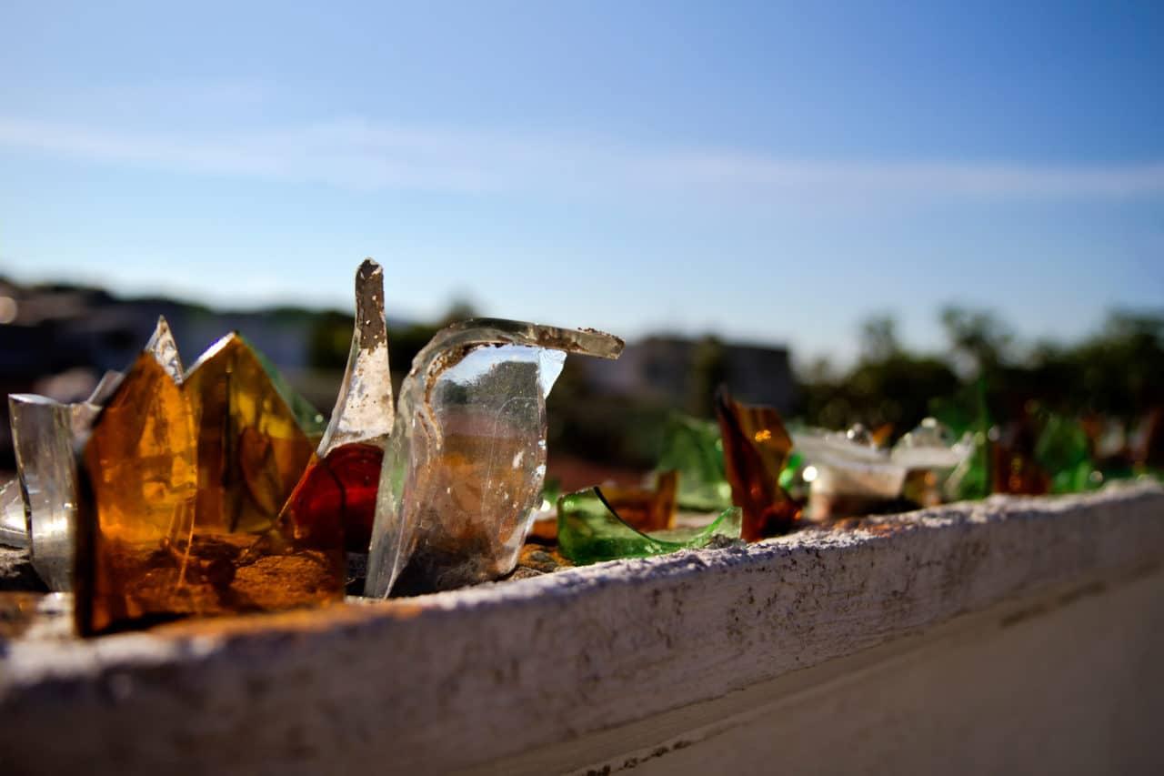 Broken Bottles for Burglar Protection