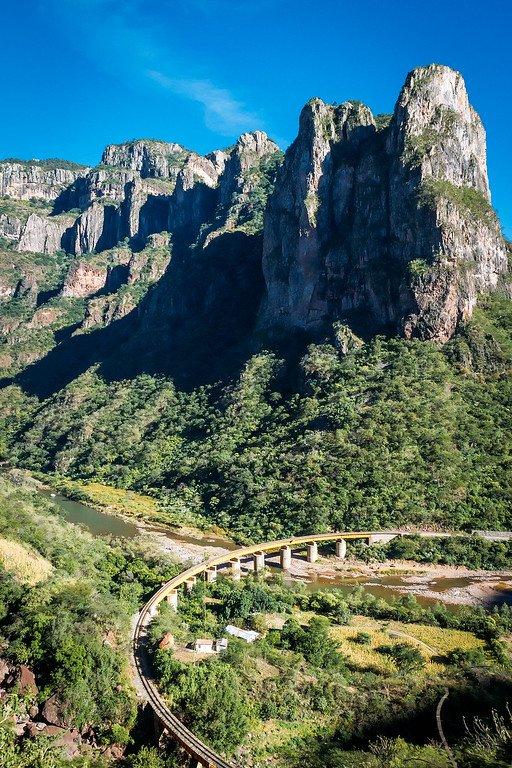 Train through Copper Canyon in Mexico