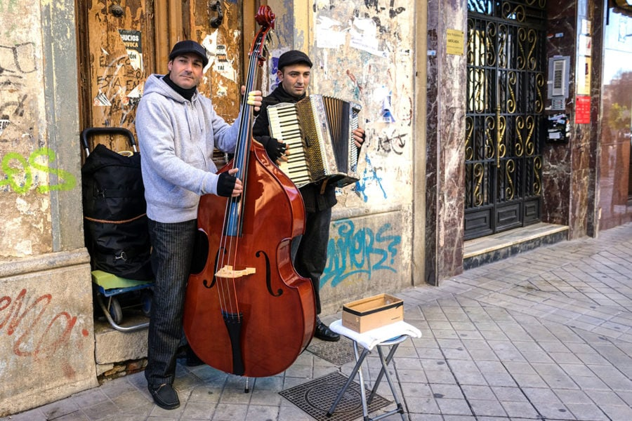 Buskers Playing on the Street