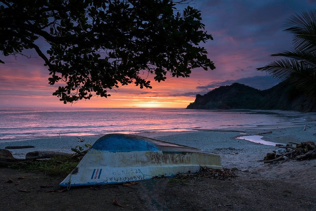 Costa Rica beach sunset.