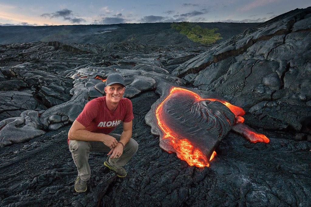 Posing with Lava in Hawaii