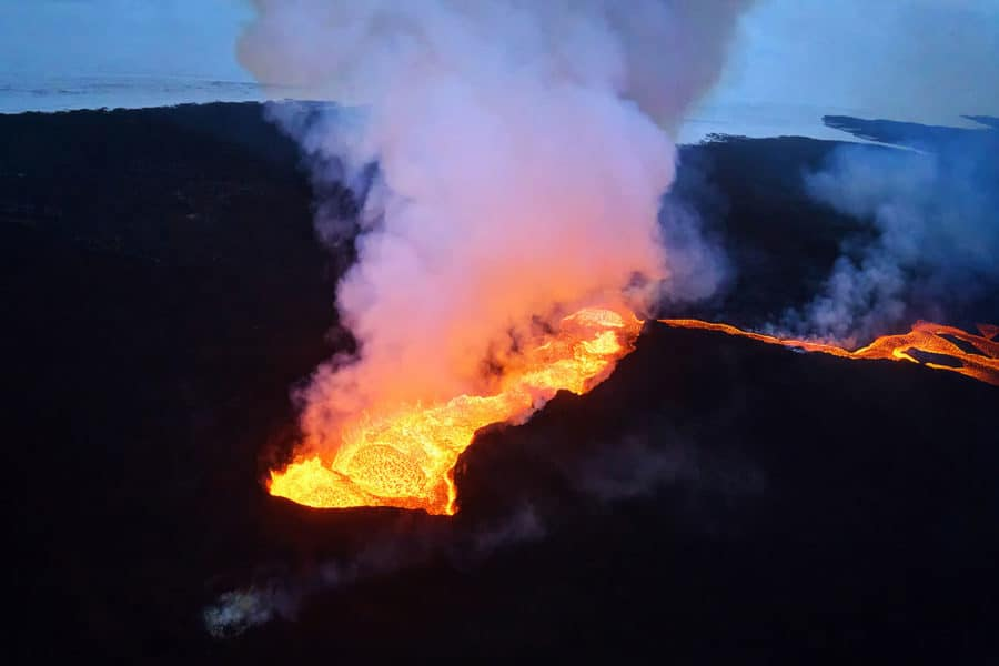 Flying over Erupting Volcanoes