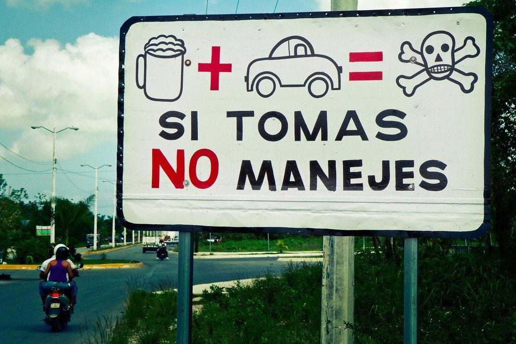 Drunk Driving Sign Isla Cozumel