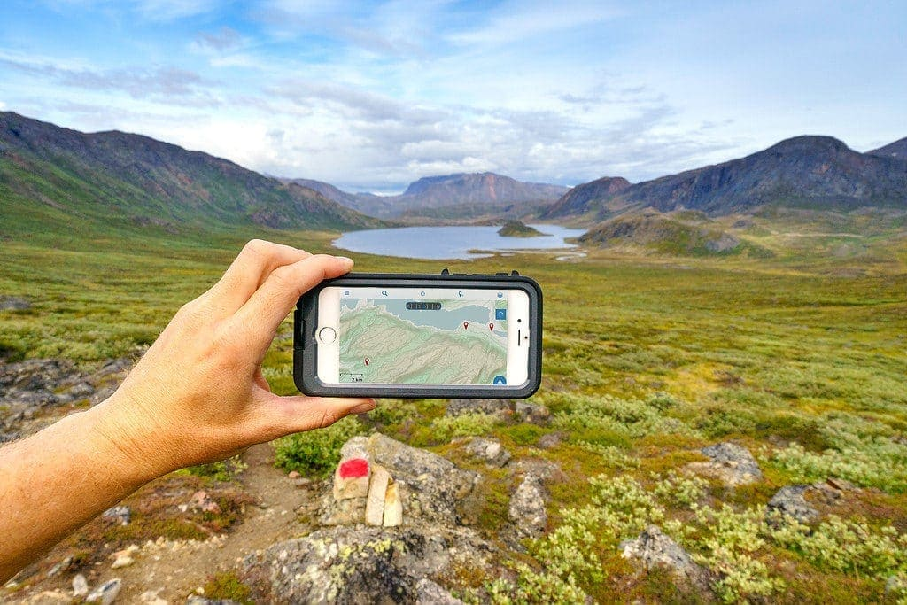 phone and mountain landscape