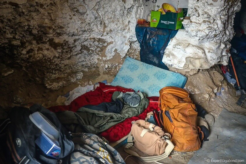 travel packing in a cave