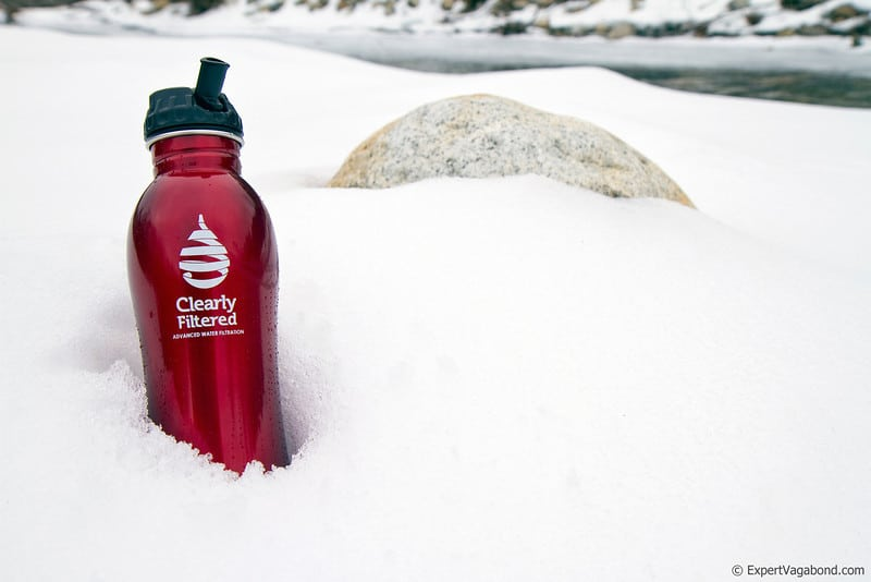 clearly filtered bottle in snow