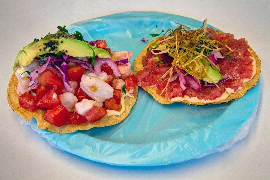 Tostadas at Aguachiles Yucatan Mexico