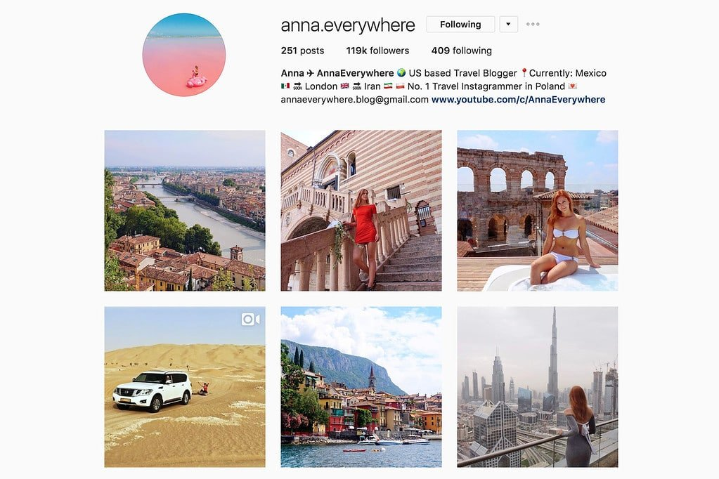 Travel with Anna on Instagram