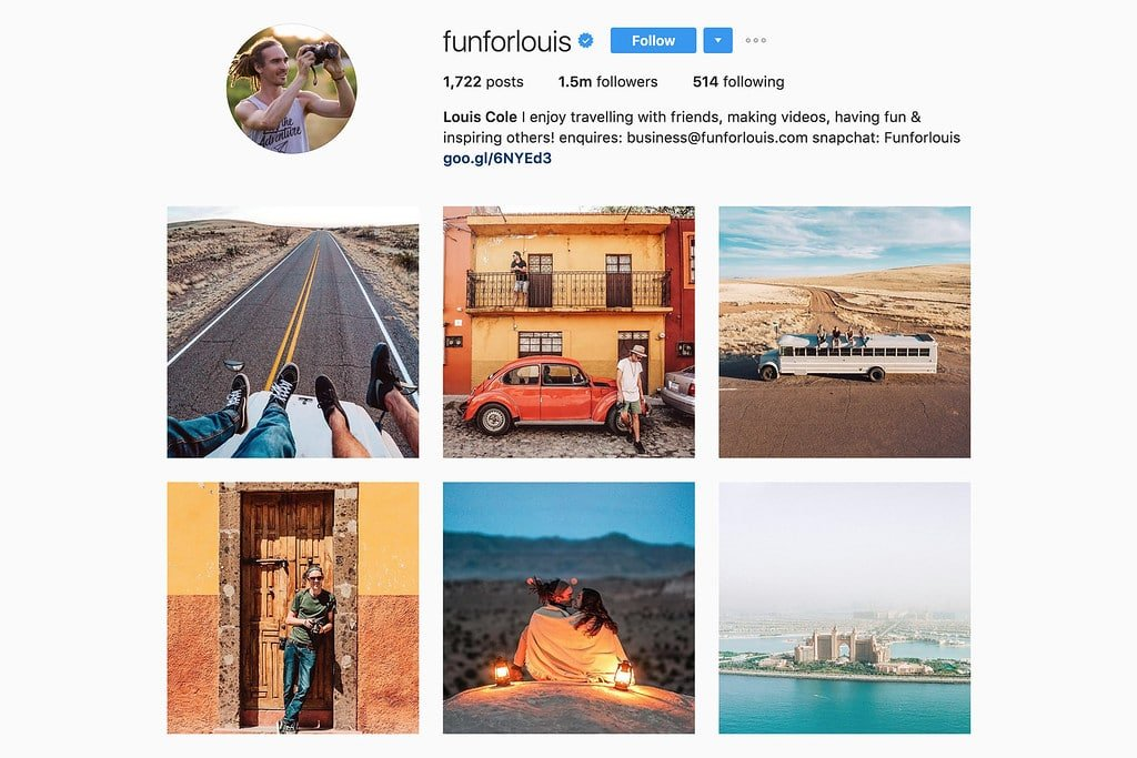 Travel with Louis on Instagram
