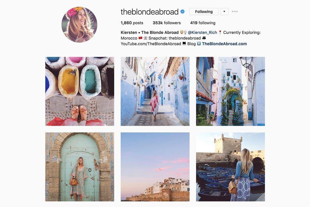 Travel with Kiersten on Instagram