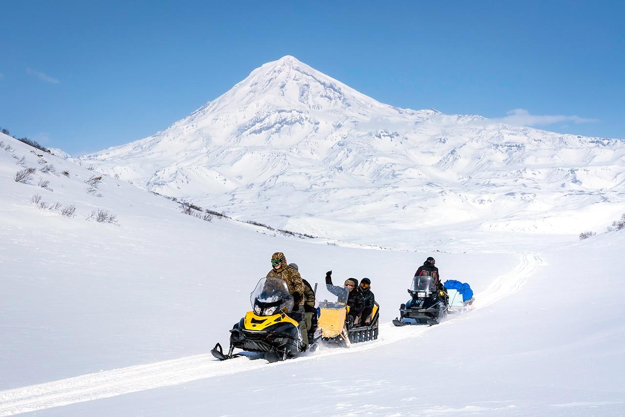 Snowmobiling through the Mountains of Kamchatka