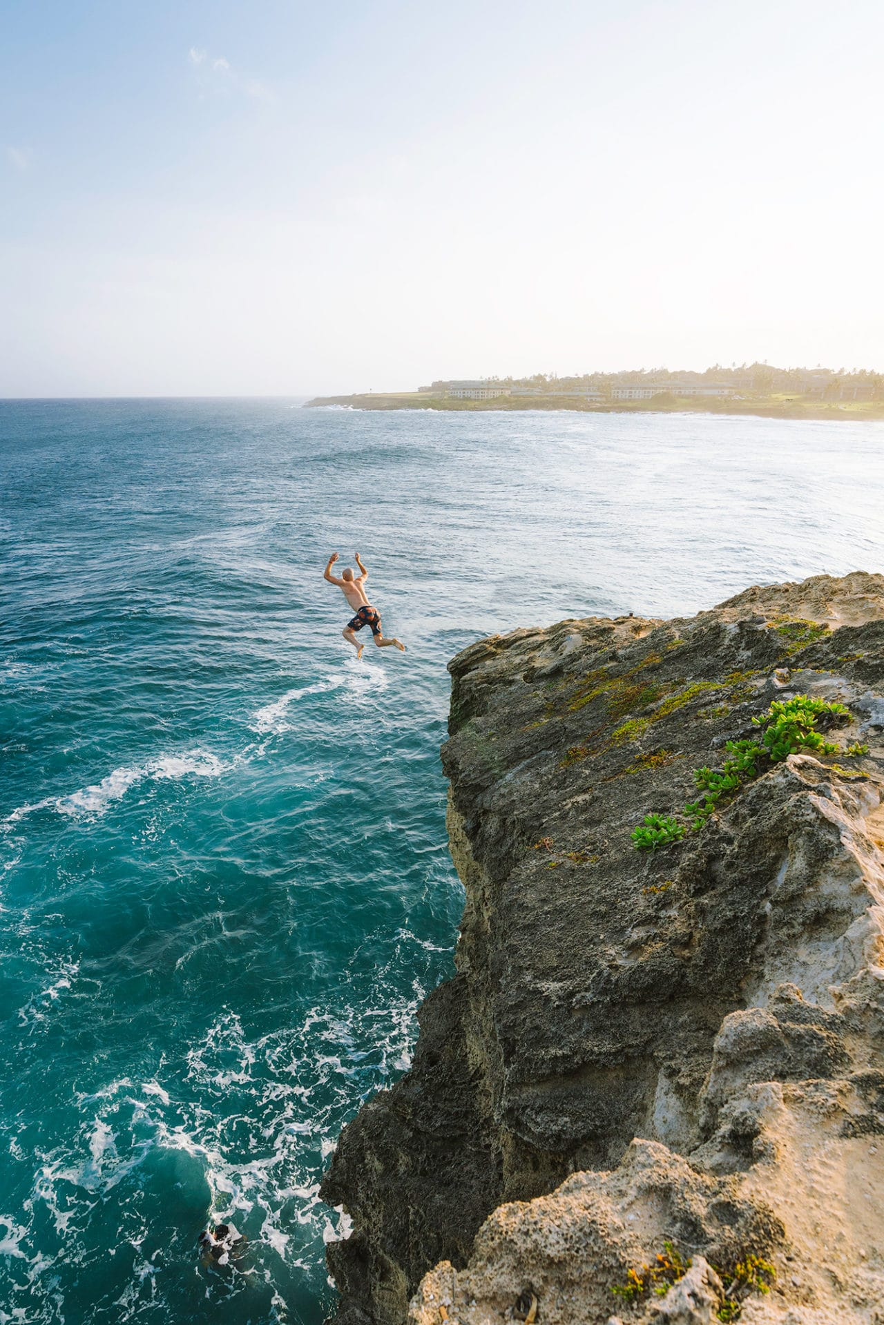 Jumping from a Cliff in Hawaii