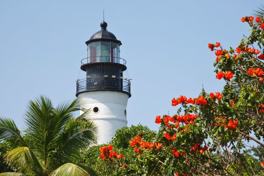Key West Lighthouse with Flowers