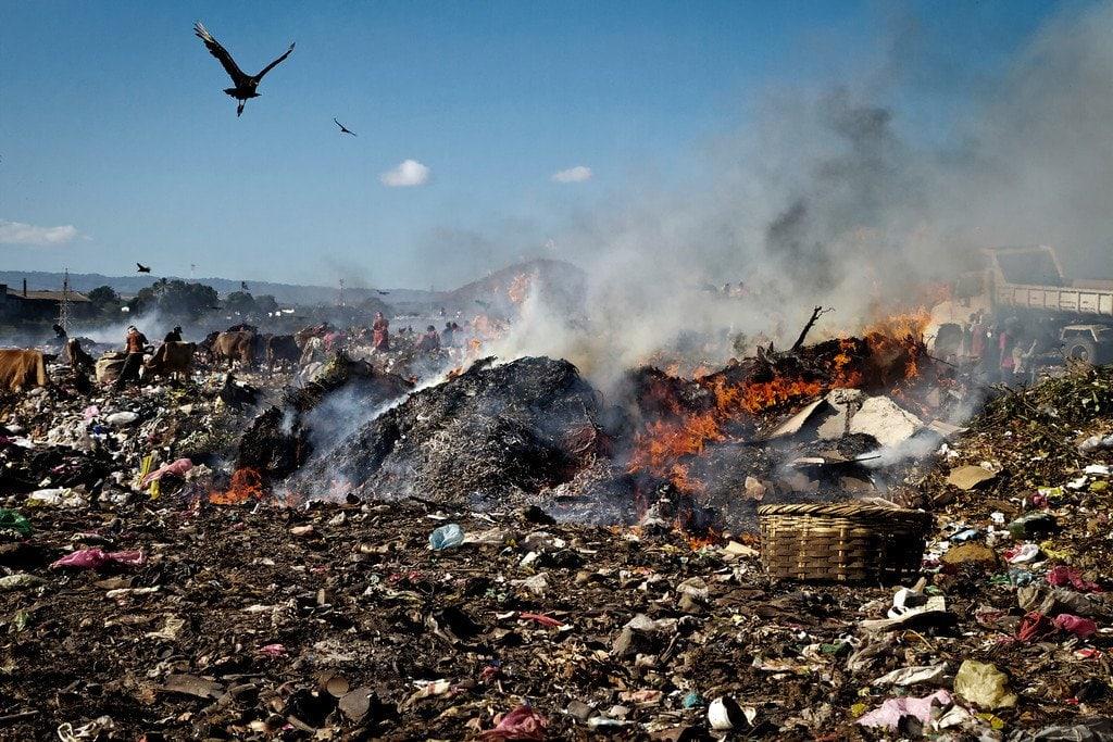 Managua Nicaragua La Chureca Burning Garbage