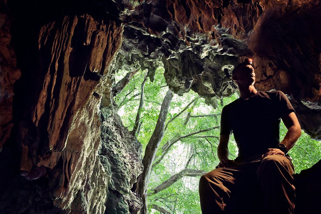 Headlamp in Cave
