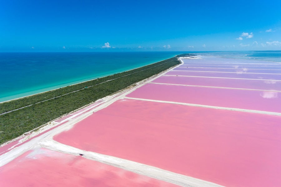 Flying over the Pink Lakes