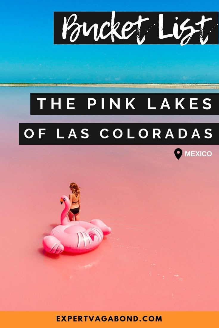 Visiting the pink lakes of Las Coloradas in Mexico. More at ExpertVagabond.com
