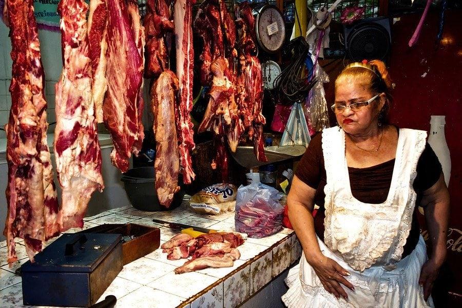 Managua market meat
