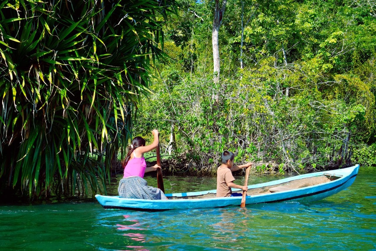 Rio Dulce River Guatemala Kids Canoe