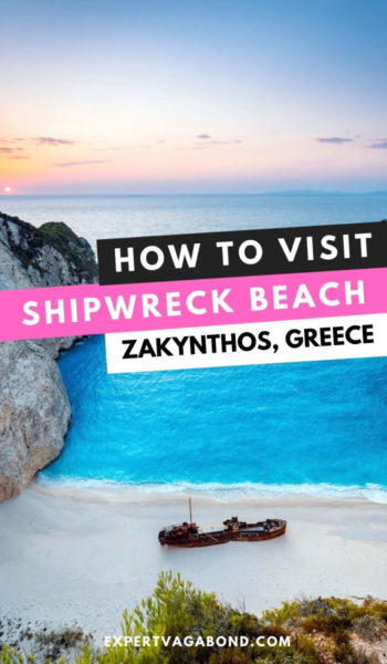Want to visit Shipwreck Beach (Navagio) in Zakynthos? Here are my tips for getting photos of shipwreck cove and more.   #zakynthos #navagiobeach #visitgreece