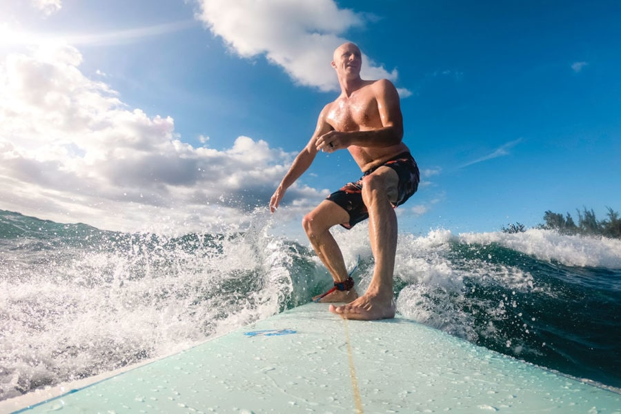 Surfing Hanalei Bay