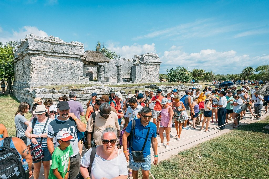 Tourists at Tulum in Mexico
