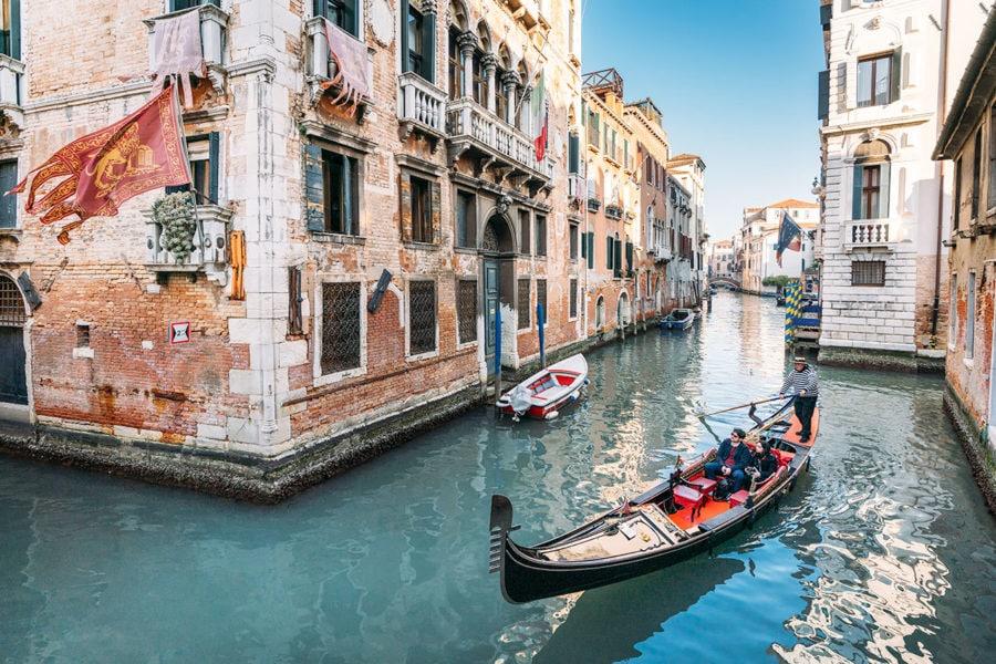 Gondola Floating Down Canal