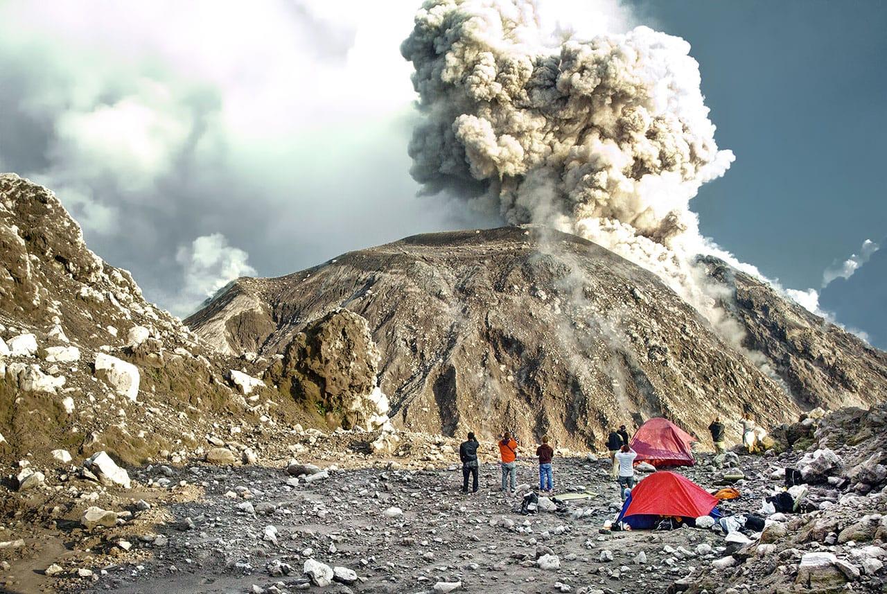 Volcano Santiaguito in Guatemala