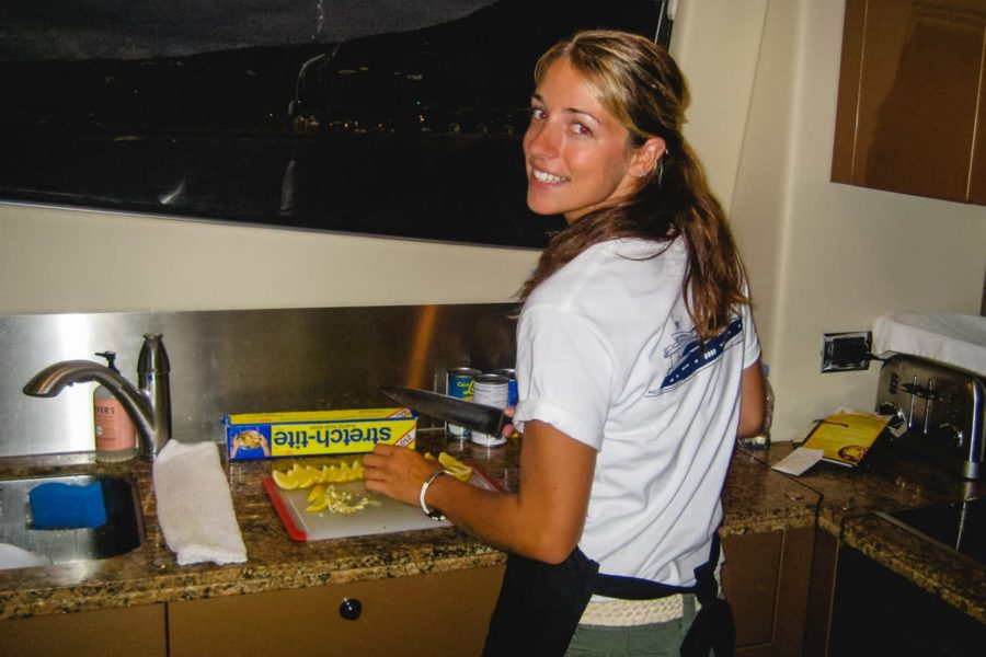 Katie cooking on a yacht